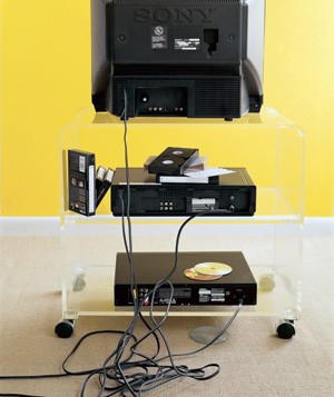 TV stand with cables