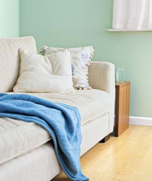 couch with blanket