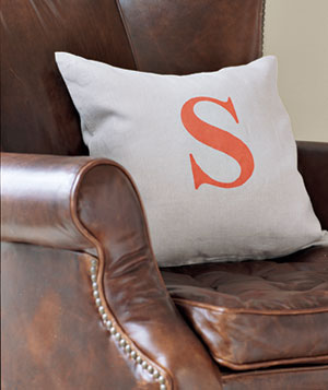 Painted throw pillow on an armchair