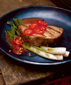 Grilled Tuna and Scallions With Tomatoes