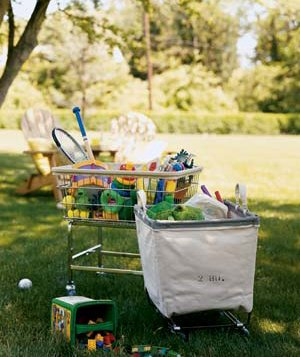 Make cleanup a breeze (no multiple trips from yard to house) with a toy cart or bin.
