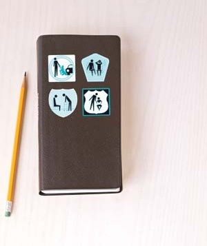 Notepad with four illustrations