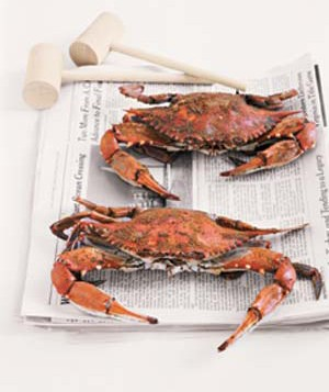 Crabs and mallets on top of newspaper
