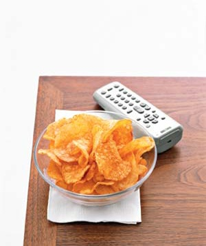 Potato chips and remote