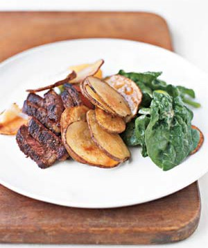 Steak and Potatoes With Spinach Salad