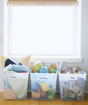 Items sorted in large plastic bins
