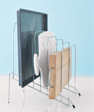 Desk organizer holding kitchen items