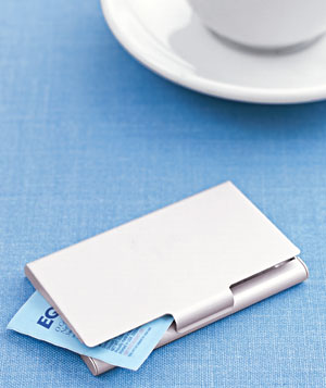 Sweetener packets in a business card case