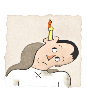 Man with a candle in his ear
