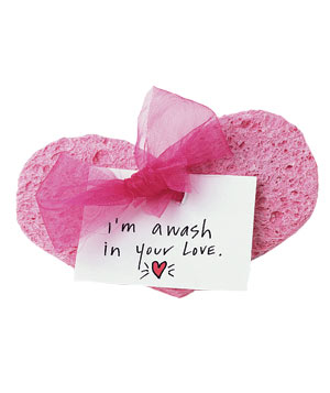 Pink heart sponge with love note