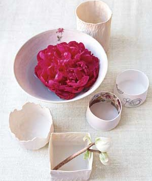 Group of bowls with flowers