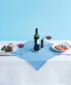 Table setting with wine and food