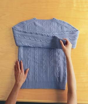 How to Folder a Sweater Step 1