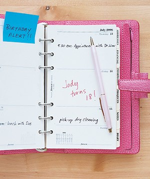 Planner with birthday reminders