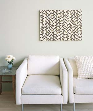 Framed fabric in a living room