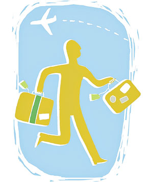 Man running with a suitcase