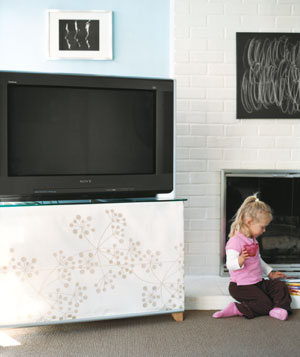 Covered tv stand