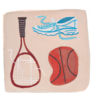 A tennis racket, basketball and sneakers
