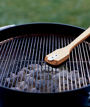 Grill brush cleaning a grill