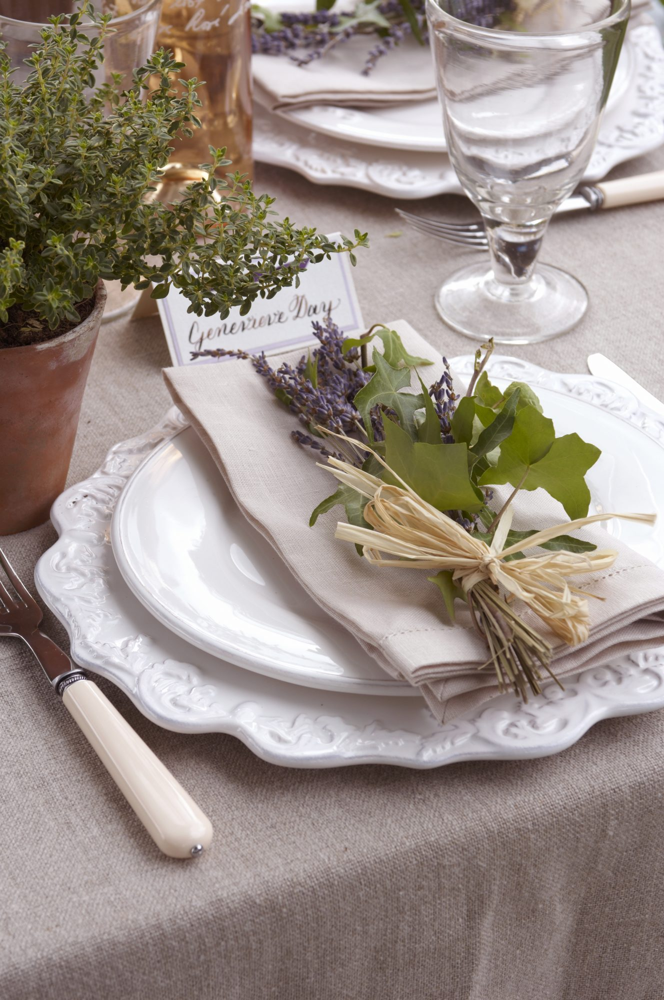 Wedding Menu Ideas: Formal reception place setting