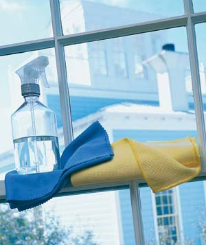 Spray bottle and cloths at a window