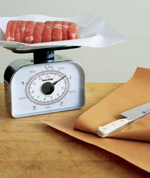 Raw meat on a scale