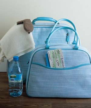 Carry-on bag and water bottle