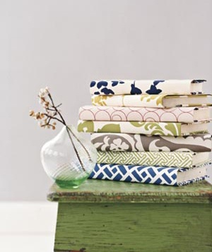 Books covered with wallpaper