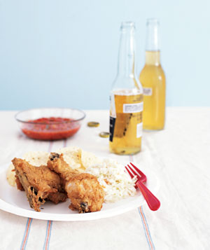 Fried chicken meal with beer