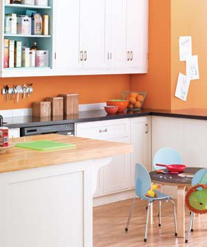 Children's table and chairs in a kitchen