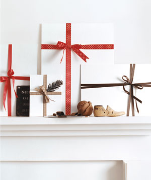 Blank art canvases wrapped with ribbon