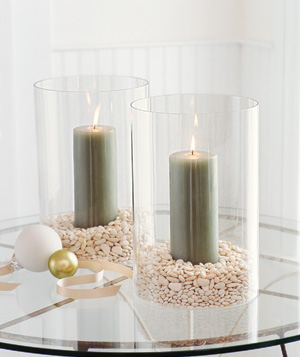Candles in glass cylinders