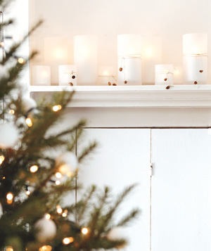 Candles on a mantel