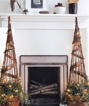 Branch trees at a fireplace