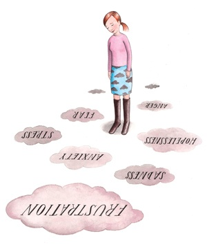 illustration of woman looking at words on the ground