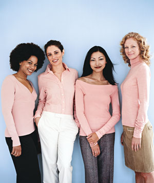 Women wearing mellow rose