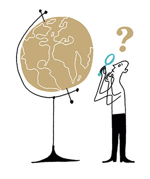 Illustration of a man and a globe