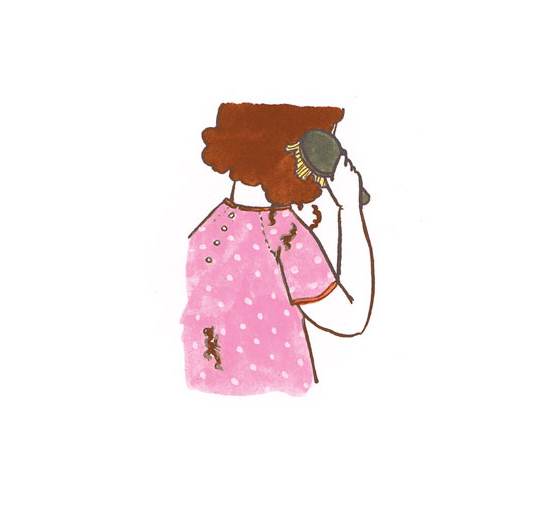 Illustration of woman whose hair is falling out