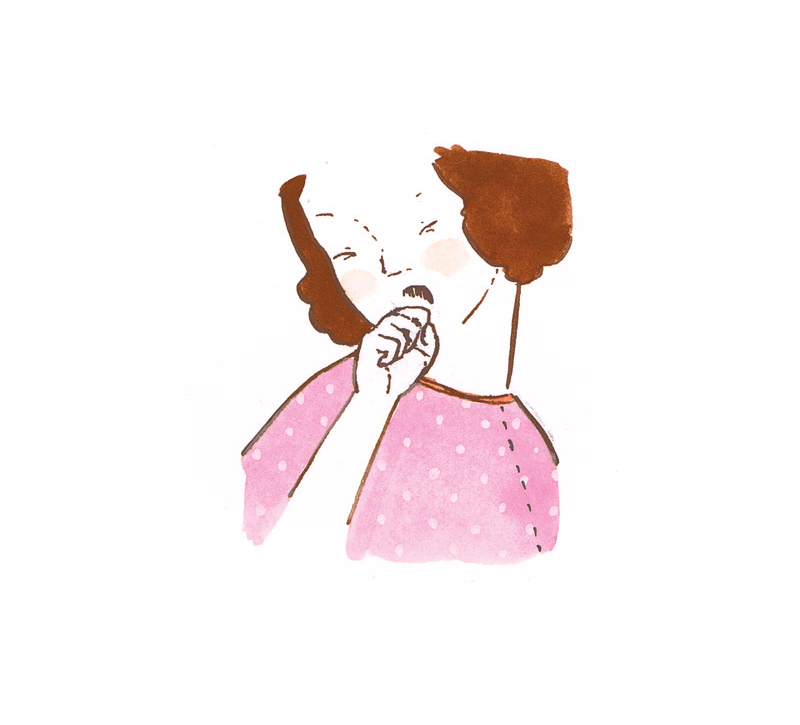 Illustration of a woman with chronic cough
