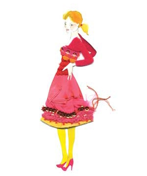 Illustration of model in red shirt and skirt