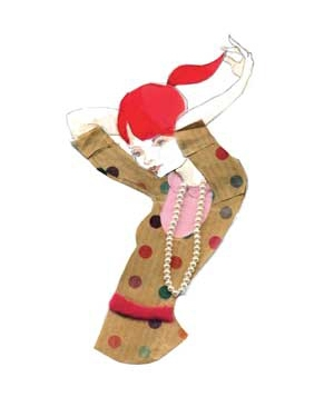 Illustration of model with pearls and red hair