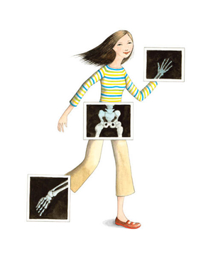 Illustration of a girl with X-rays