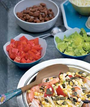 Bowls with tomatoes and salad