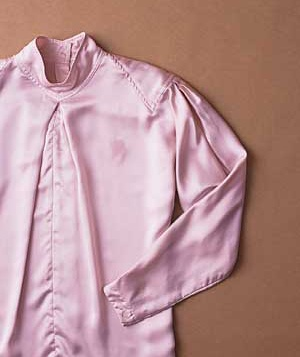 Stained pink silk blouse