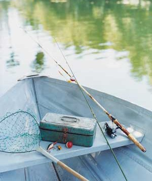 Boat with fishing gear