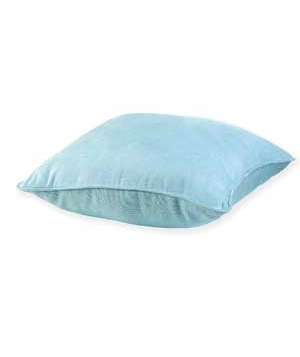 Light blue pillow on the floor.
