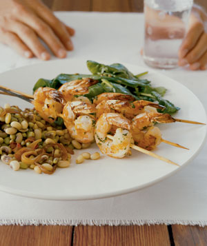 Herb Grilled Shrimp and Wilted Spinach With Fennel