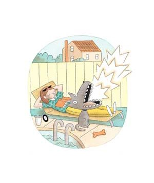 woman on lawn chair and barking dog