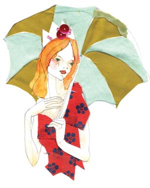 Sketch of a woman holding an umbrella