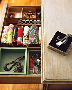 Drawer of scarves and accessories